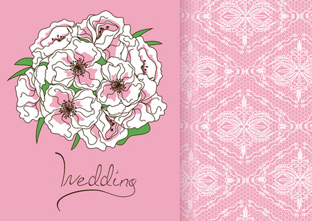 wedding reception decoration: Wedding invitation or card with bridal bouquet and lace pattern