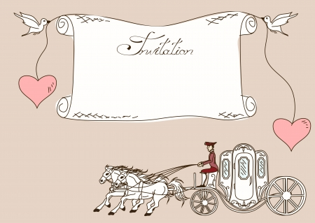 horse drawn carriage: Vintage invitation or card with horse carriage