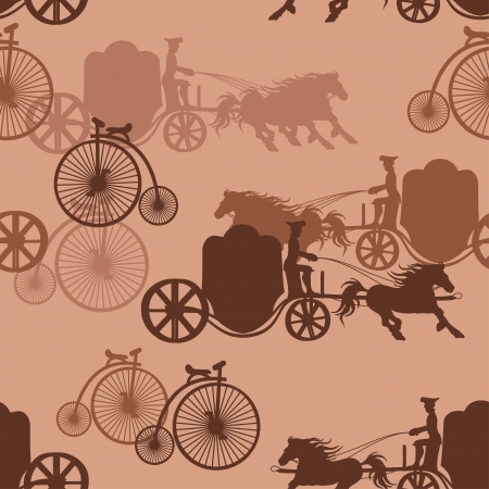 horse drawn carriage: Seamless pattern of vintage horse carriages and bicycles