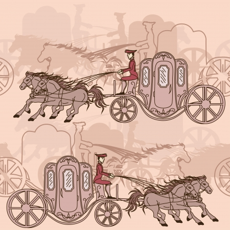 horse drawn carriage: Seamless pattern of vintage horse carriages