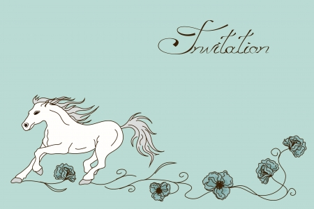 Invitation or card with racing horse and flowers Vector