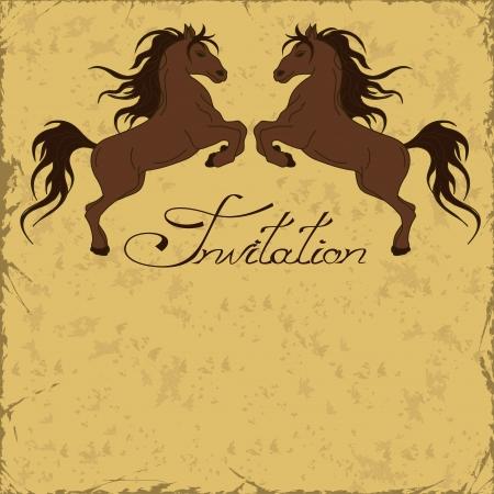 rearing: Invitation with two horses rearing up on a vintage background