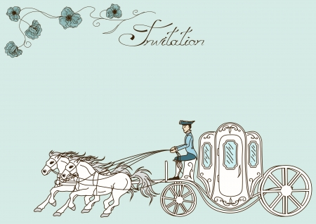 Vintage invitation or card with horse carriage Vector