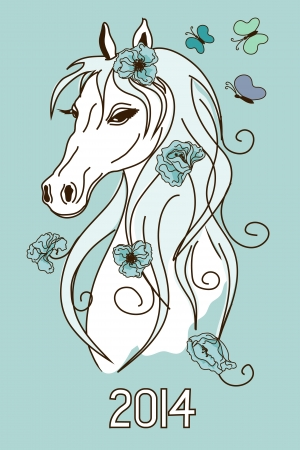 Illustration with New Year 2014 symbol of horse head  Vector