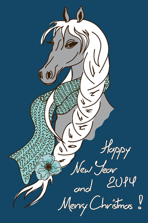 tress: Christmas and new year 2014 card with comic horse