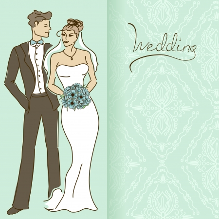 laced: Wedding invitation or card with couple on a laced pattern background Illustration