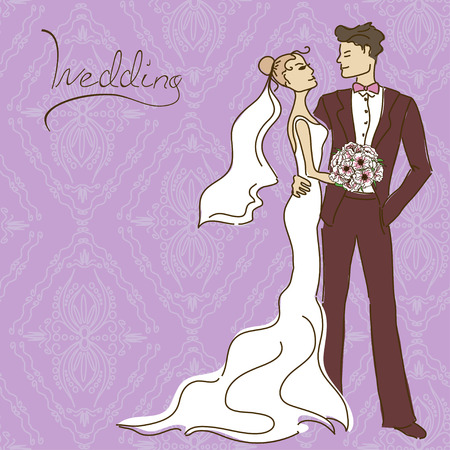 Wedding invitation or card with couple on a laced pattern background Vector