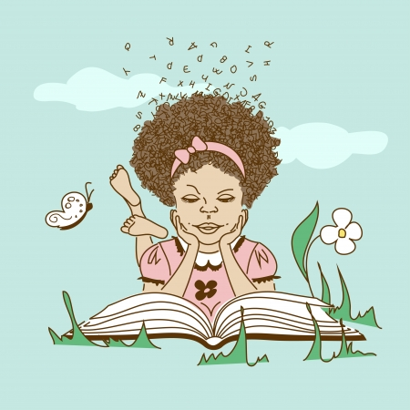 Girl with hair made of letters lying on the grass and reading a book Stock Vector - 23498930