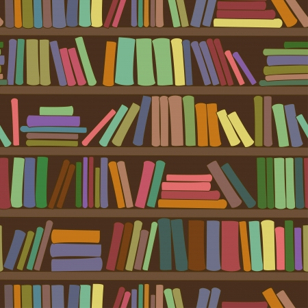Seamless pattern of library bookshelf with books