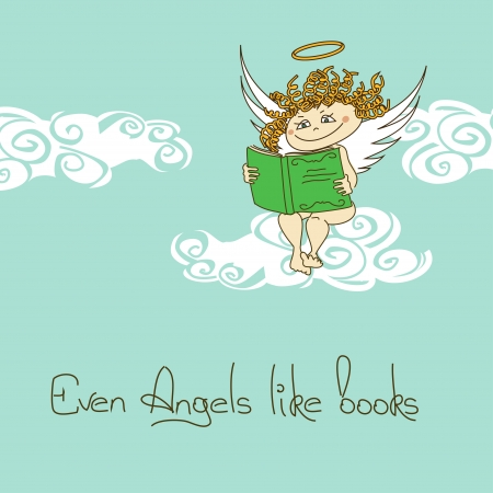 Illustration with Angel sitting on a cloud and reading a book Vector