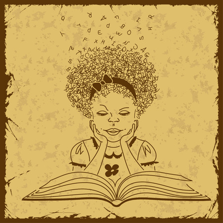 Retro sketch illustration with girl reading a book Vector