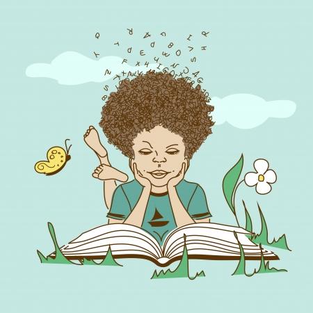 芝生に寝ころんで、本を読んで文字の髪の少年