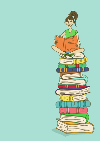 Illustration with young girl sitting on a stack of books and reading Vector