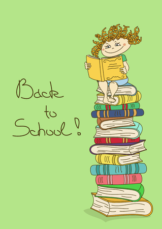 child sitting: Illustration of child sitting on a stack of books and reading