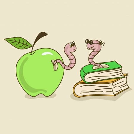 literary: Cartoon comic illustration with apple worm and bookworm