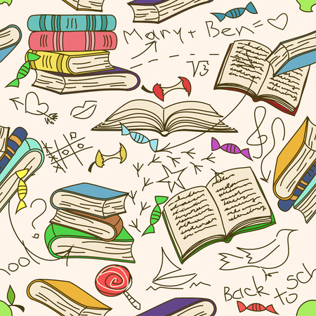 childrens book: Comic doodle seamless pattern of books and childrens scribbles