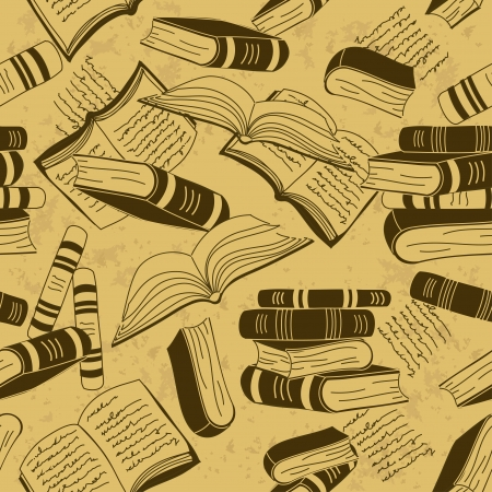 stacked books: Vintage seamless pattern of books Illustration