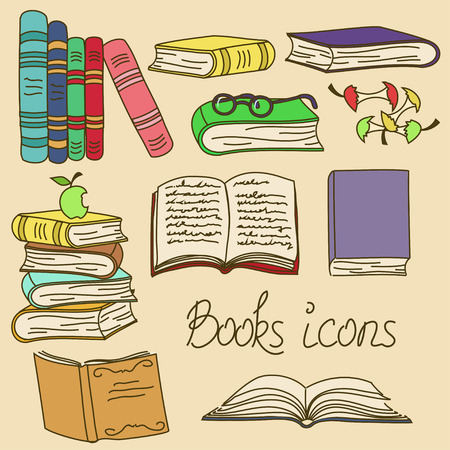 manzana caricatura: Conjunto de dibujos animados aislados libros iconos