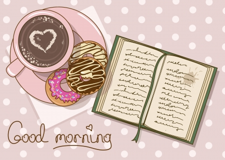 Illustration with cup of coffee, donuts and book