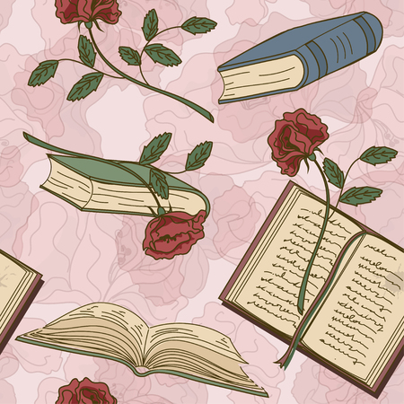 rarity: Seamless pattern of books and flowers on a floral background Illustration