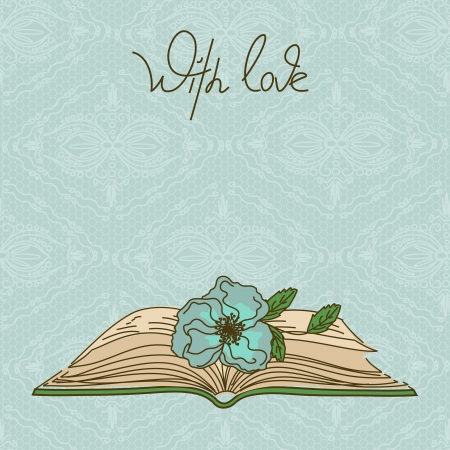 rarity: Card or invitation with book and flower on a lacy background