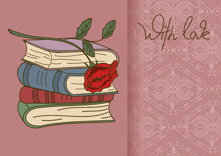 rarity: Card or invitation with stack of books and rose flower Illustration