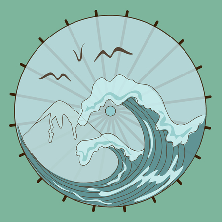 Top of the Japanese umbrella with landscape of waves and mountain Vector