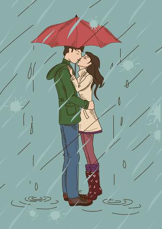 innamorati che si baciano: Giovani coppie che baciano sotto un ombrello sotto la pioggia Vettoriali