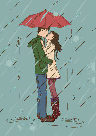 Young couple kissing under an umbrella in the rain Vector