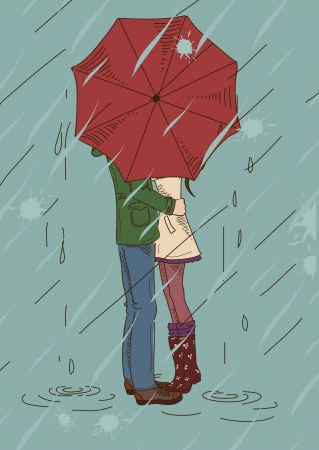 raining background: Young couple kissing under an umbrella in the rain