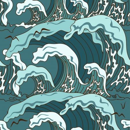tsunami: Waves of ocean seamless pattern in asian style