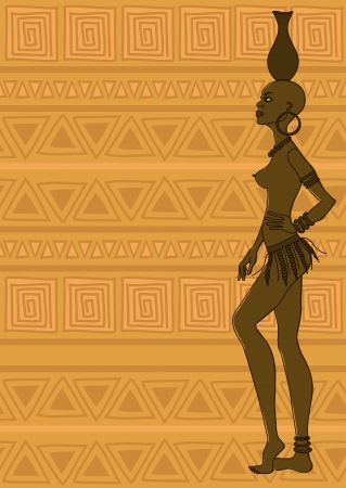 Illustration with African tribal seminude girl on an ethnic patterned background