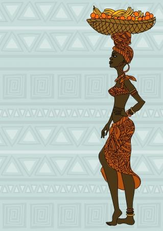 fruitmand: Illustratie van de Afrikaanse meisje met een fruitmand op het hoofd op een etnische achtergrond patroon