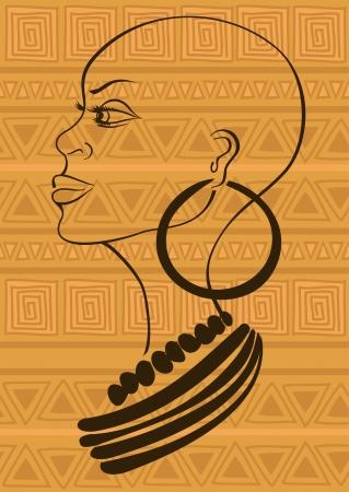 mujeres negras: Retrato Esquema de la bella joven tribal africano sobre un fondo estampado �tnico Vectores