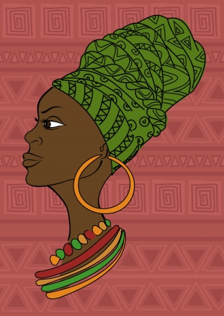 Portrait of beautiful African girl in a headscarf on an ethnic patterned background Vector