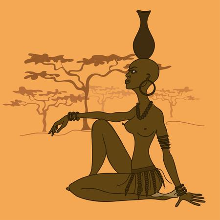 Ilustración de una hermosa chica semidesnuda tribal africana con el cántaro en la cabeza Foto de archivo - 23498989