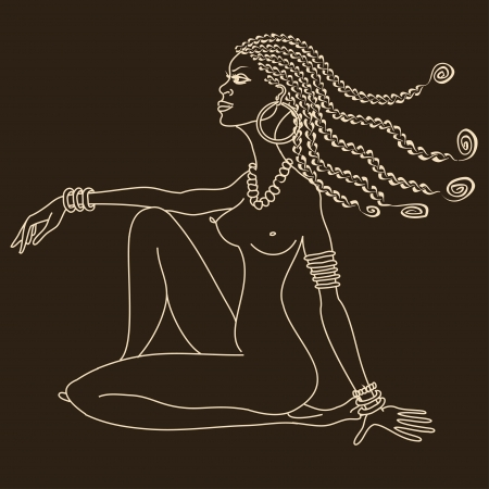 Silhouette of beautiful African tribal nude girl with braids Vector