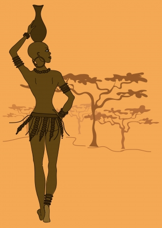 Illustration of beautiful African tribal seminude girl with crock on the head