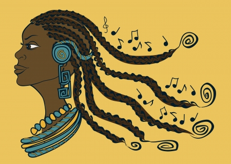 Portrait of African girl with dreadlocks lestening to music through headphones Иллюстрация