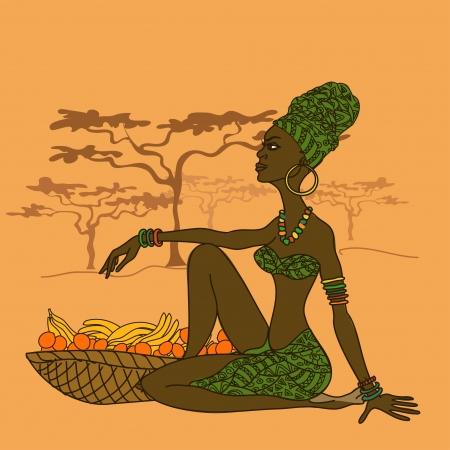 fruitmand: Illustratie van mooie Afrikaanse meisje met fruitmand