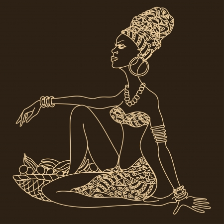 Illustration of silhouette of beautiful African girl with fruit basket Vector
