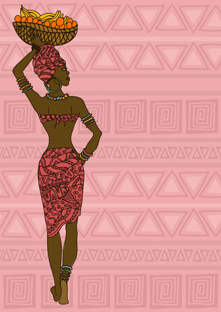 Illustration of African girl with fruit basket on the head on a ethnic patterned background Vector
