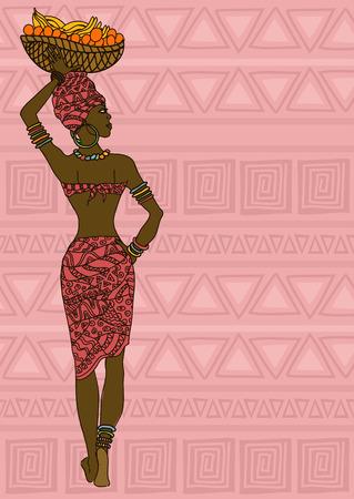 canasta de frutas: Ilustraci�n de la ni�a africana con cesta de frutas en la cabeza en un fondo modelado �tnica