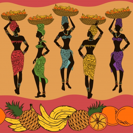 Colorful African seamless pattern of fruits and beautiful street vendors