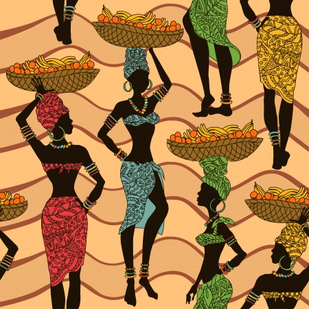 vendors: Colorful African seamless pattern of street vendors with fruit baskets on the heads