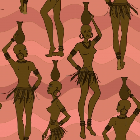 Seamless pattern of African seminude girls with crocks on the heads Illustration