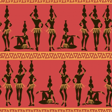 Seamless pattern of African seminude girls with crocks on the heads Vector
