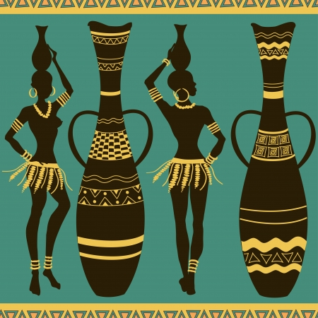 African seamless pattern of tribal seminude girls and vases