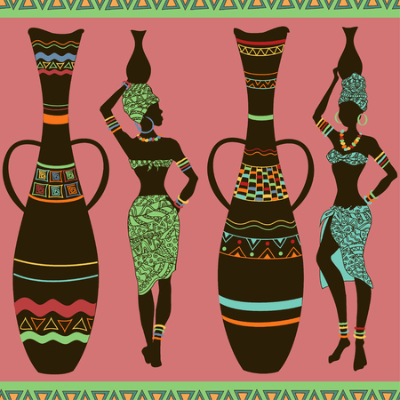 Colorful African seamless pattern of girls and vases Illustration