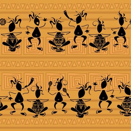 アフリカの部族のミュージシャンのシームレスなパターン  イラスト・ベクター素材